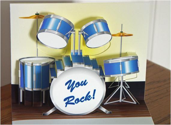 pop up blue drum set birthday card you