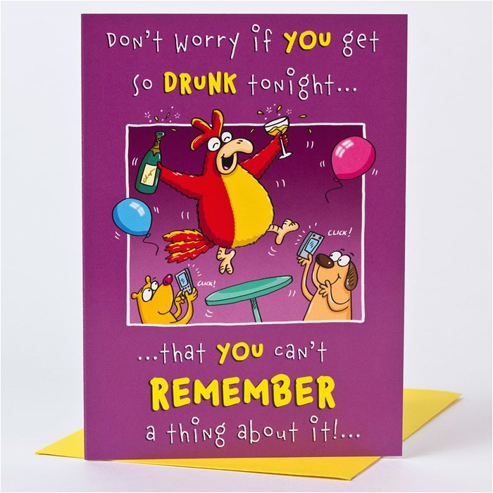 birthday card drunk rooster
