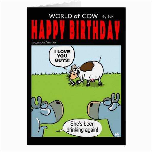 drunk birthday cow cards 137786067868122221