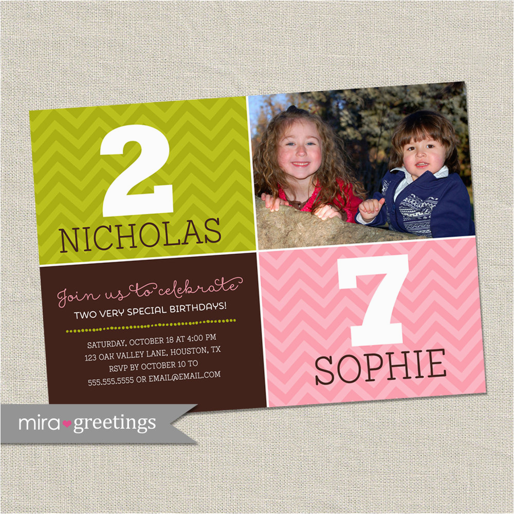 double birthday party invitation dual
