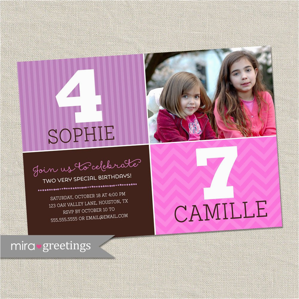 double birthday party invitation sisters
