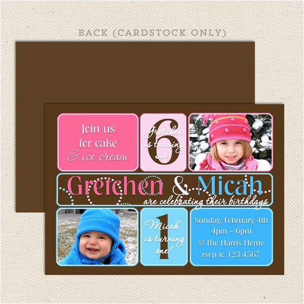 Dual Birthday Party Invitations Dual Birthday Party Invitations Lil 39 Sprout Greetings