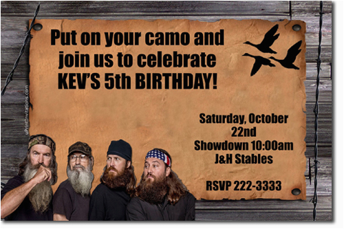 duck dynasty birthday invitations candy wrappers thank