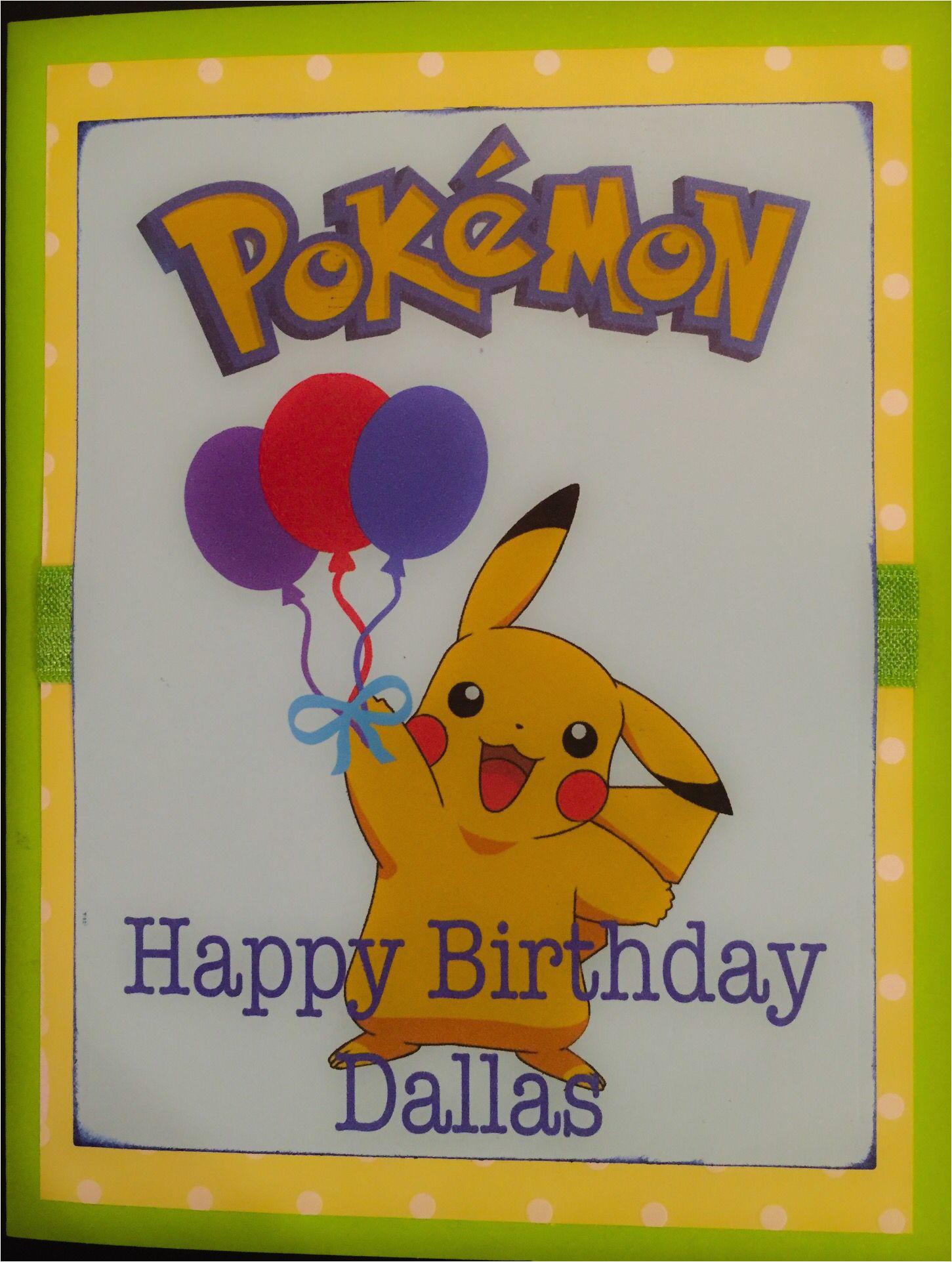 E Birthday Cards For Kids Pokemon Card Homemade