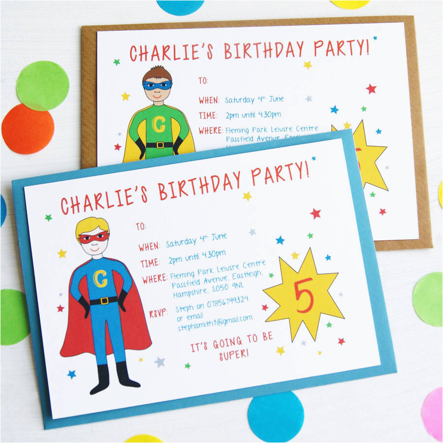 personalised superhero birthday party invitations