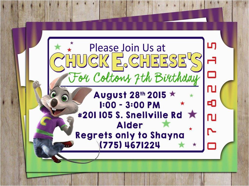 chuck e cheese birthday party invitation