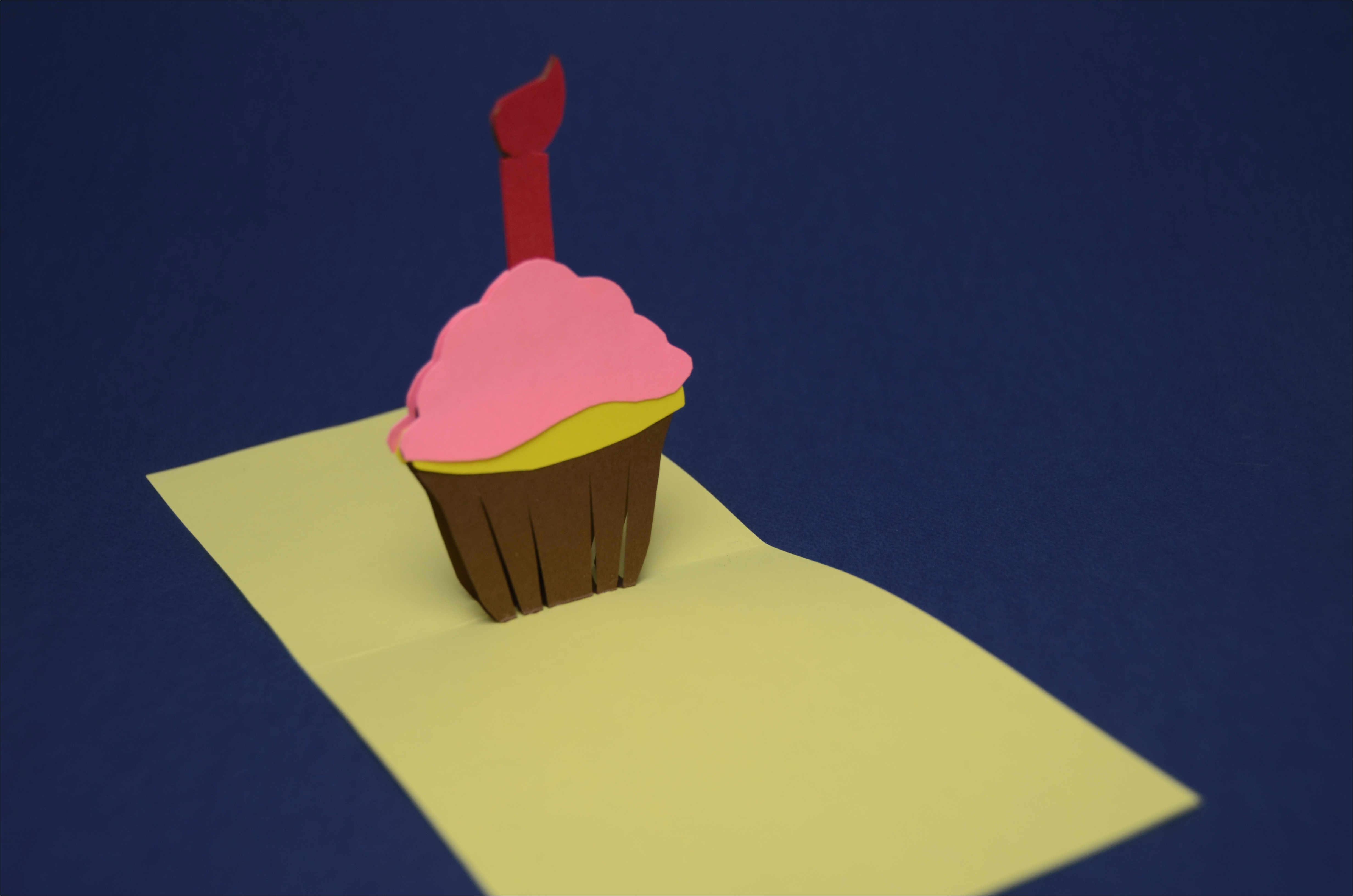 birthday pop up card simple cupcake