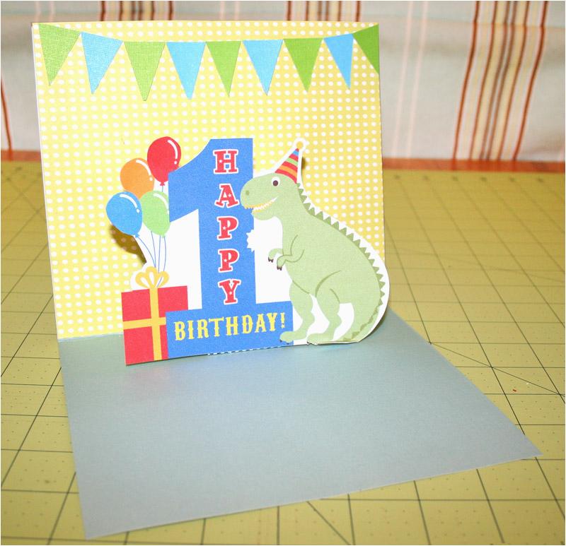 simple 1st birthday pop up card