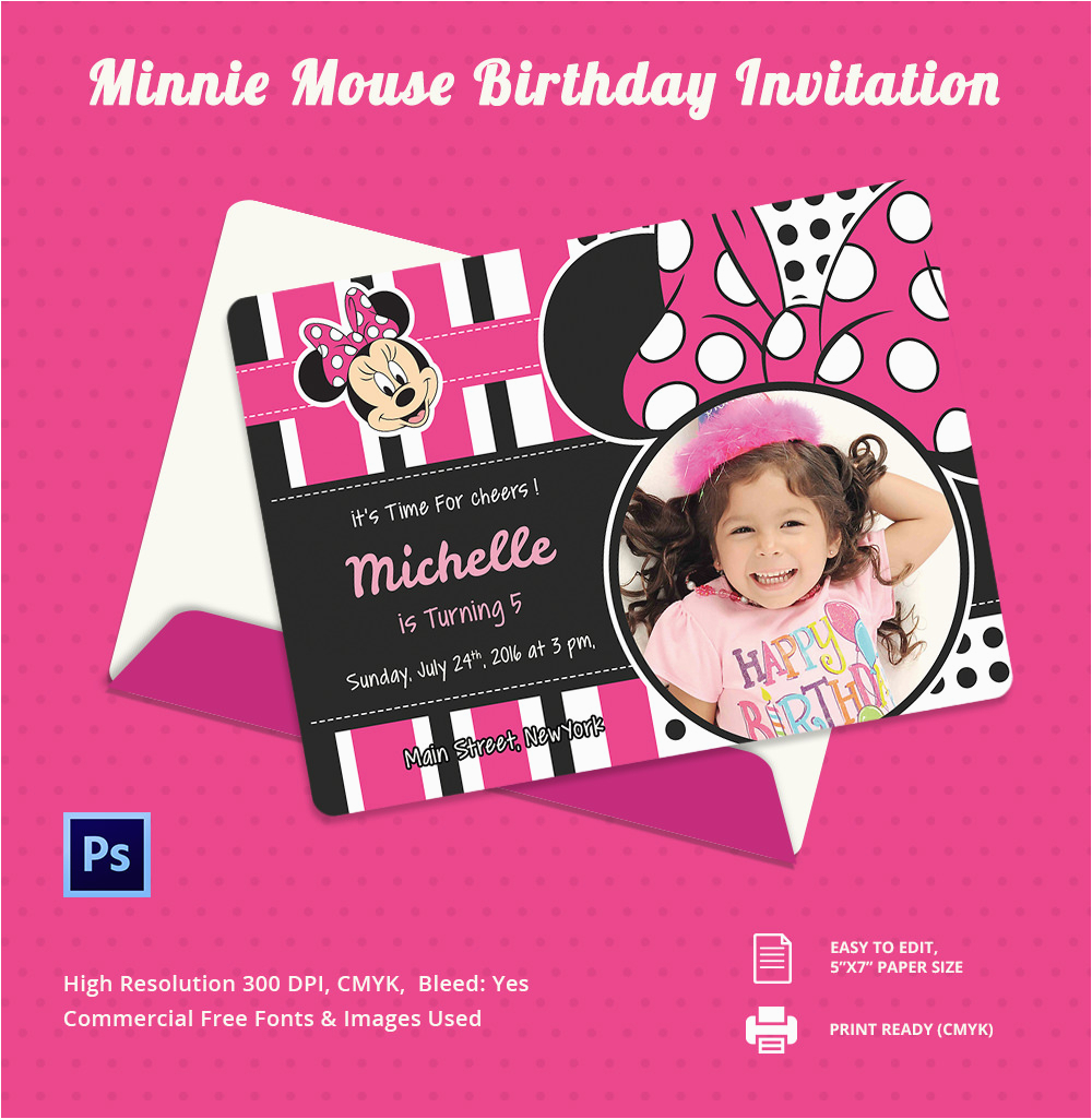 Editable Minnie Mouse Birthday Invitations Lijicinu