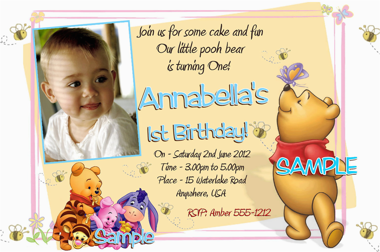 Editable 1st Birthday Invitation Card Free Download Winnie The Pooh Invitations Printable Photo