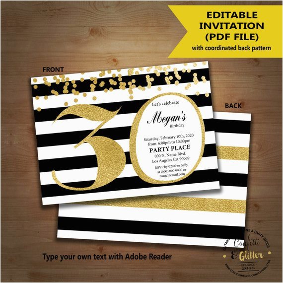 Editable 30th Birthday Invitations Invitation Black White Stripe Gold Glitter