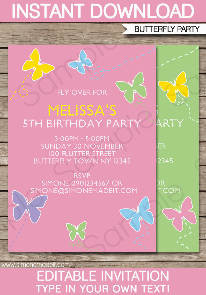 butterfly party invitations template birthday party