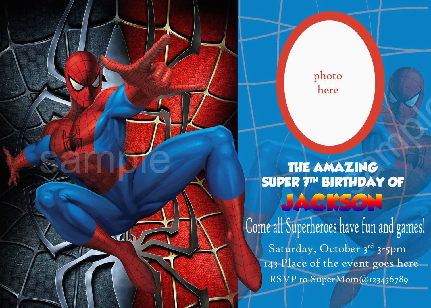 Editable Spiderman Birthday Invitation Blank Invitations Invitetown I Want A Spider