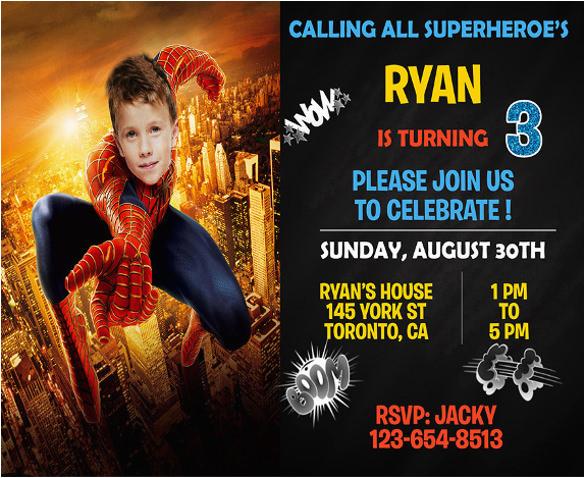 Editable Spiderman Birthday Invitation