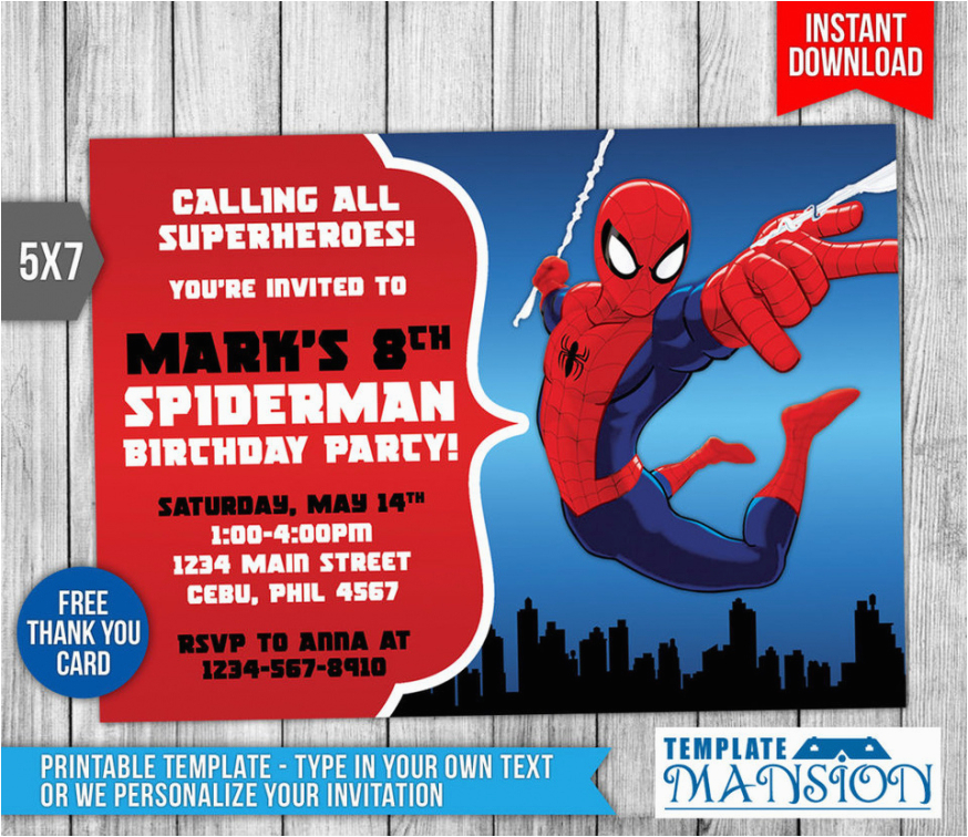 Editable Spiderman Birthday Invitation 2018