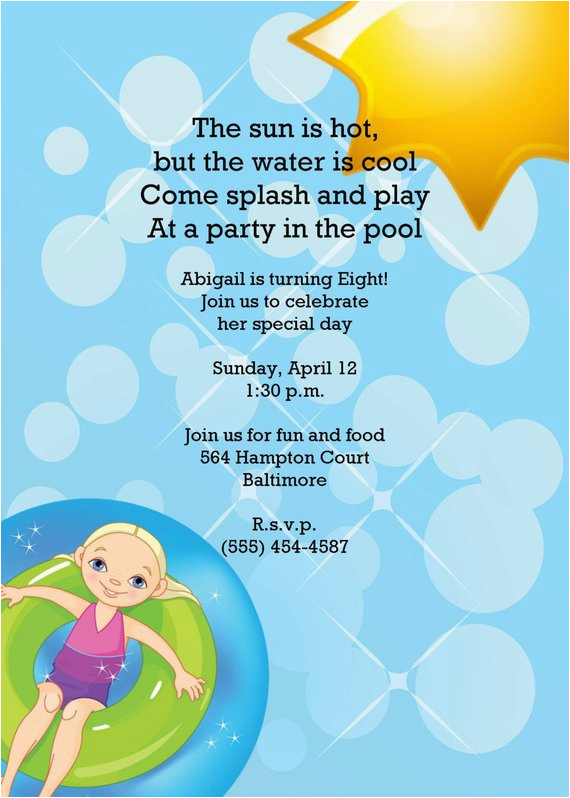 Eighth Birthday Invitation Wording Girl Or Boy Printable Swimming Pool Party