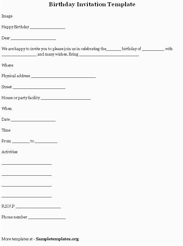 electronic birthday invitations template