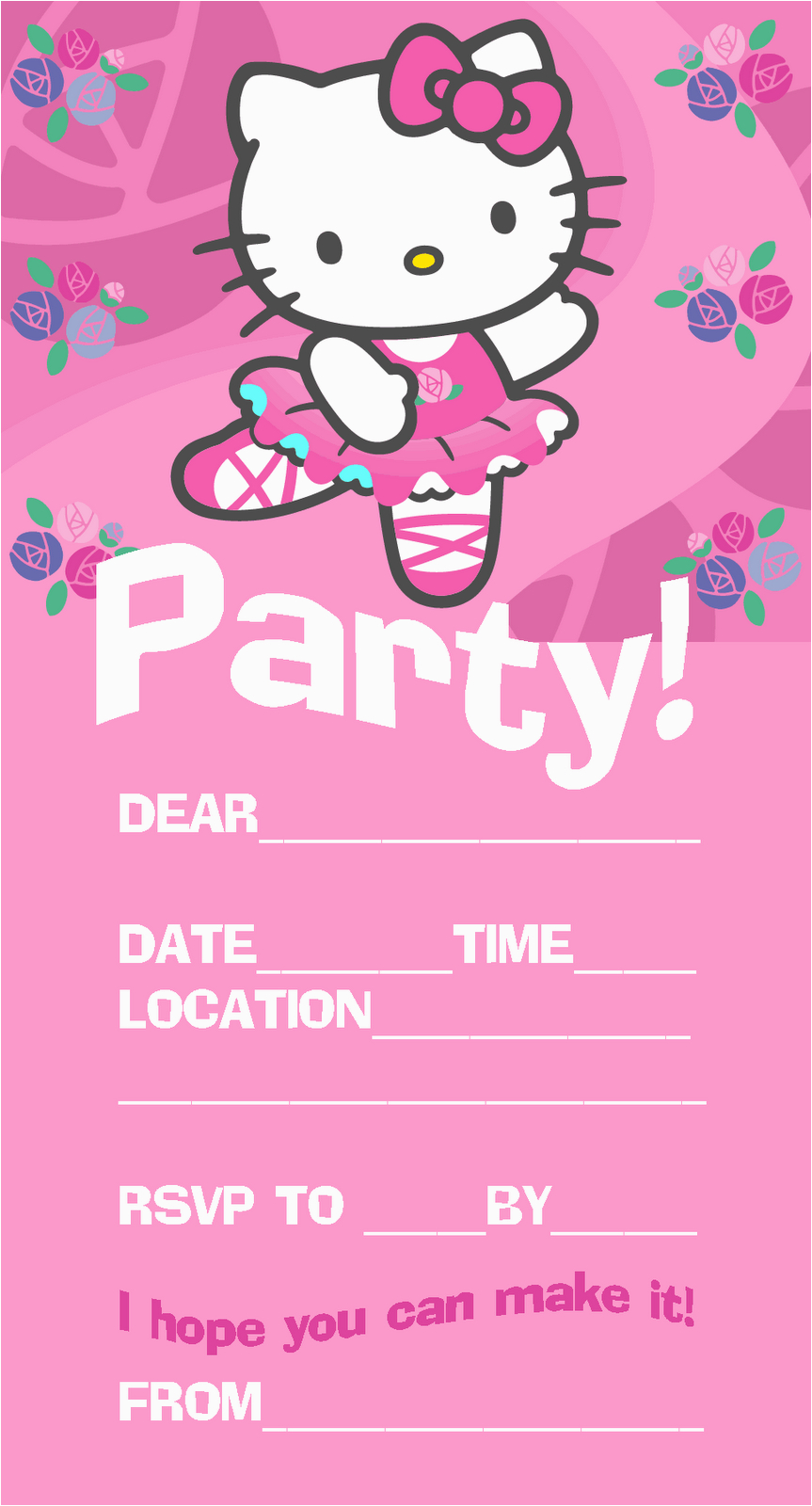 Electronic Birthday Invites Pretty Practical Mom Free Printable Hello Kitty Invitations