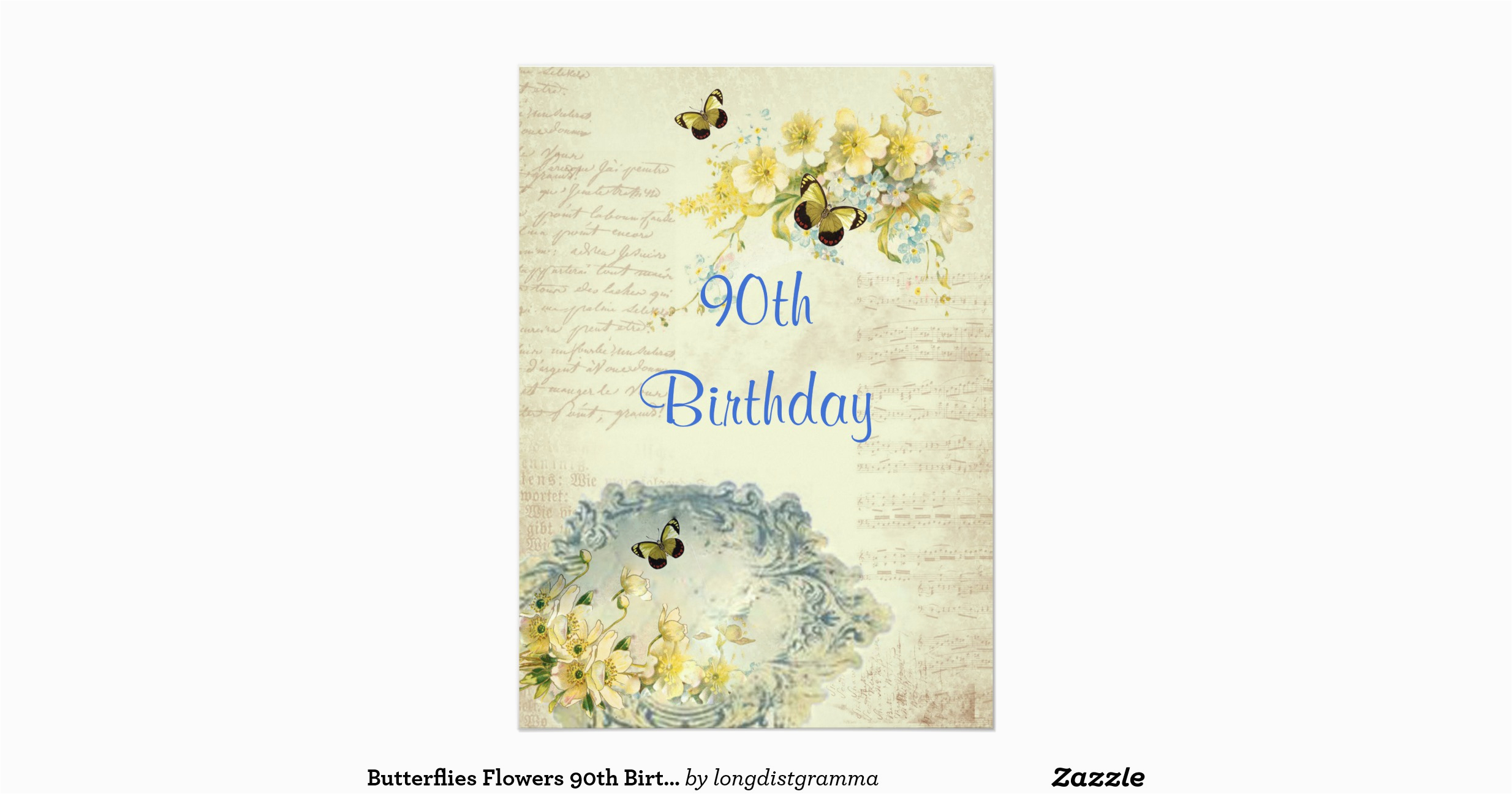 Elegant 90th Birthday Decorations Party Invitation Zazzle