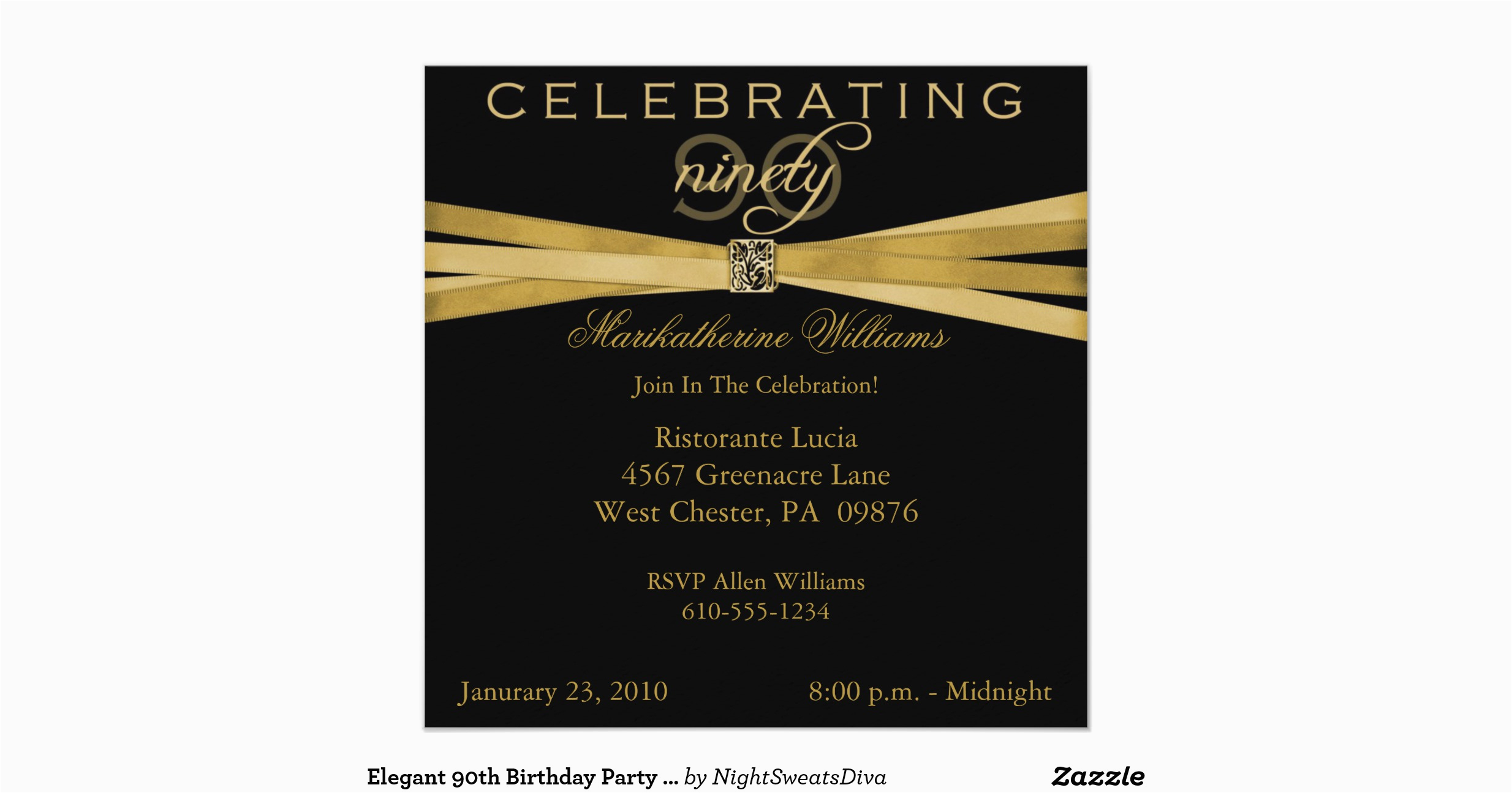 Elegant 90th Birthday Decorations Party Invitations