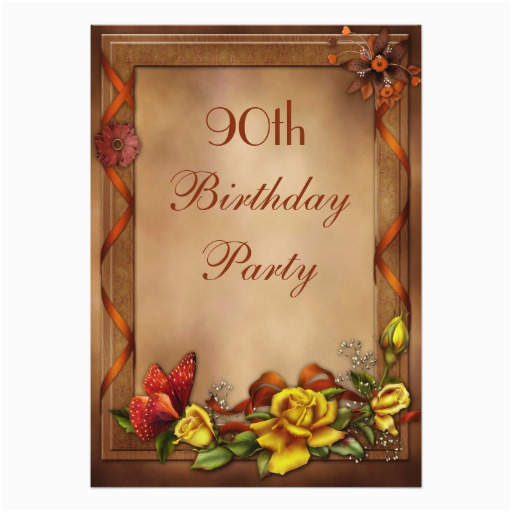 Elegant 90th Birthday Decorations Roses Butterfly Party Card Zazzle