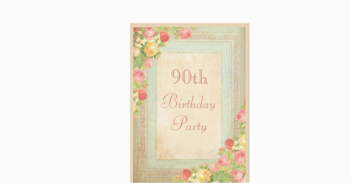 Elegant 90th Birthday Decorations Vintage Roses Party 5x7 Paper