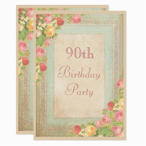 elegant vintage roses 90th birthday party card 256987993515497052