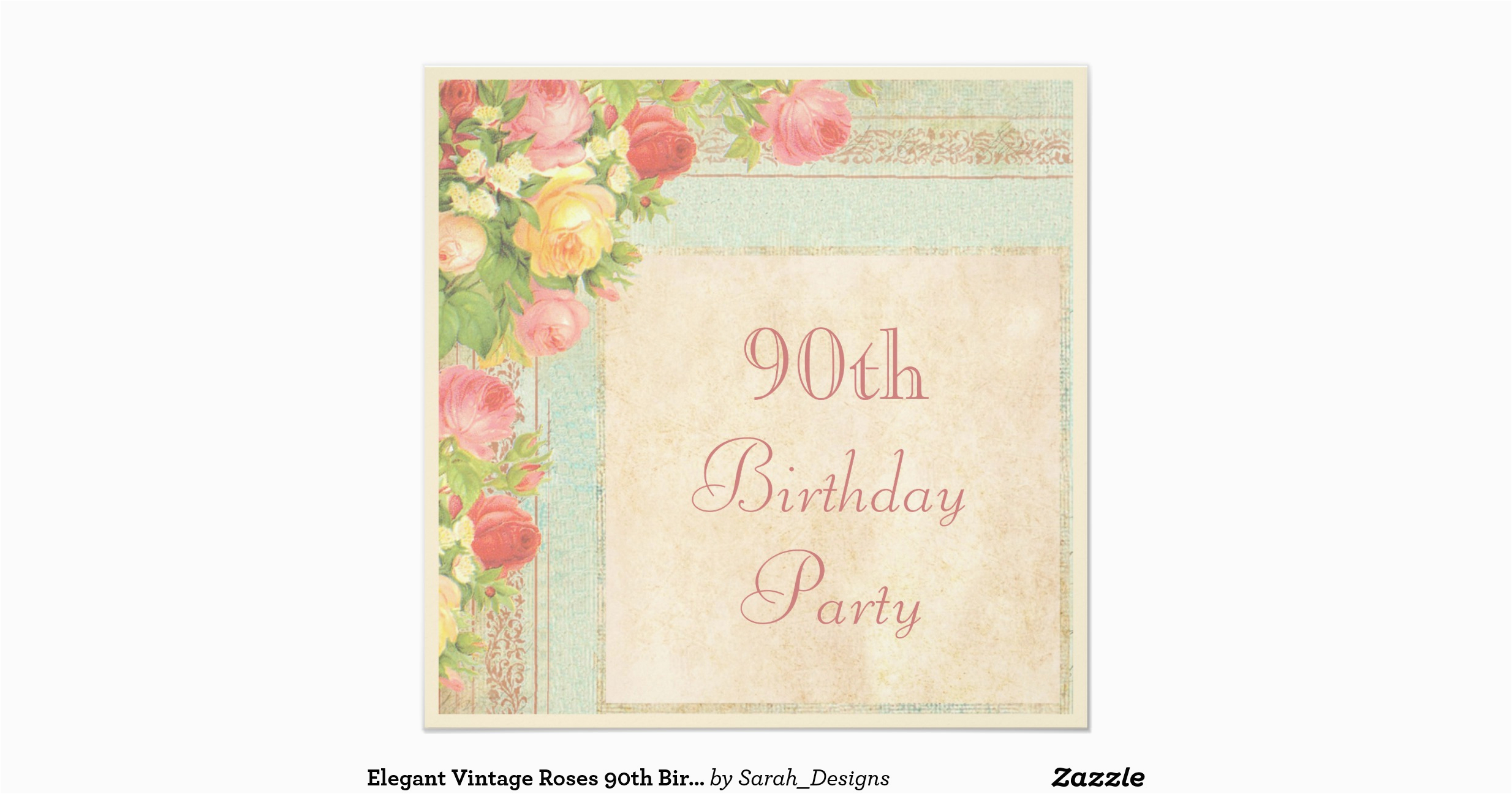Elegant 90th Birthday Decorations Vintage Roses Party Invitation