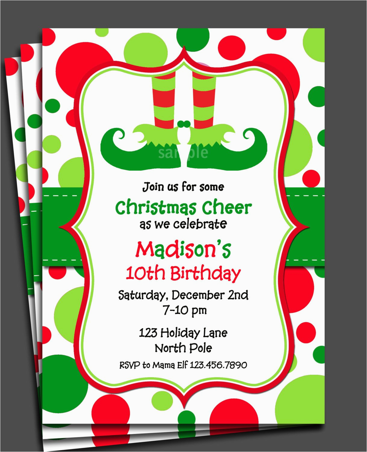Elf Birthday Party Invitations Christmas Invitation Printable Or Printed With Free