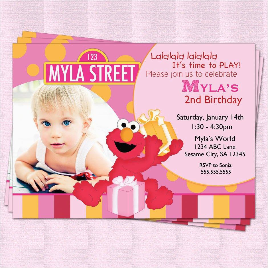 Elmo 1st Birthday Party Invitations Invitation Sesame Street Girl By Cupcakedream