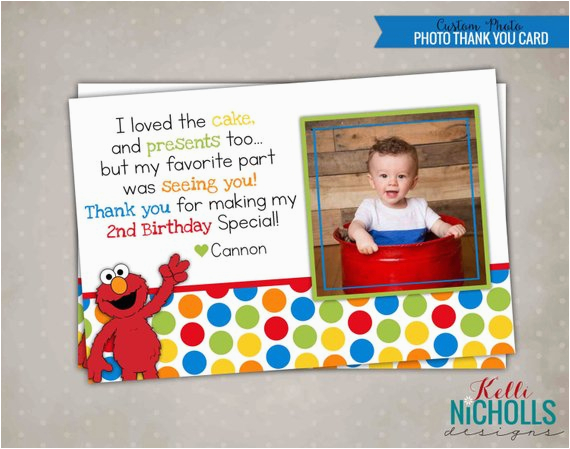 elmo photo thank you note with photo by kellinichollsdesigns