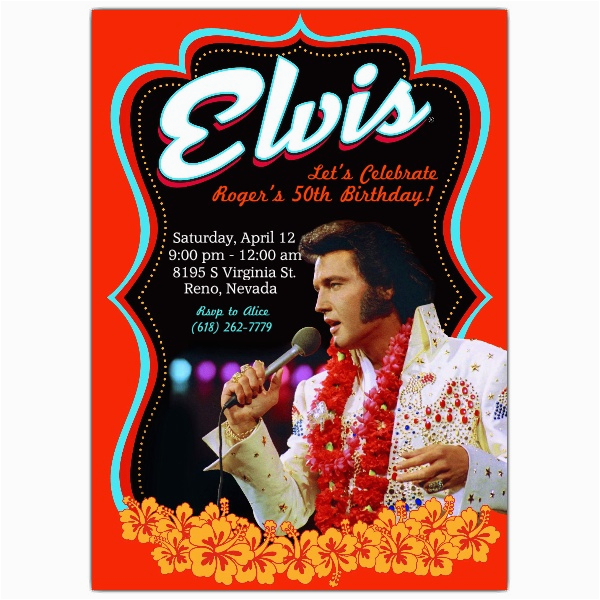 Elvis Birthday Cards Printable Elvis Poster Birthday Invitations Paperstyle