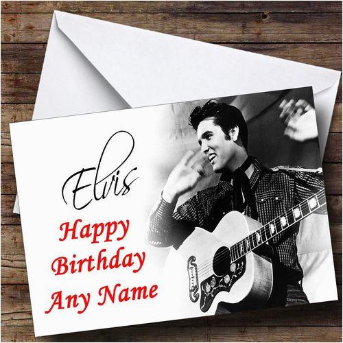 elvis presley black white personalised birthday card