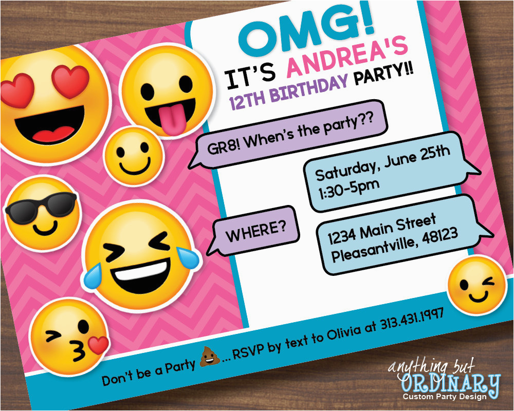 Emoji Invitations Printable Free From Birthday Card Template