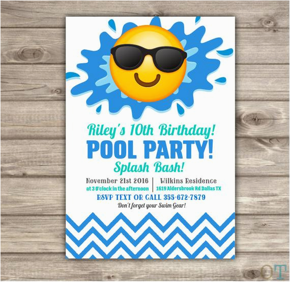 Emoji Birthday Card Template Pool Party Invitations Swim Beach