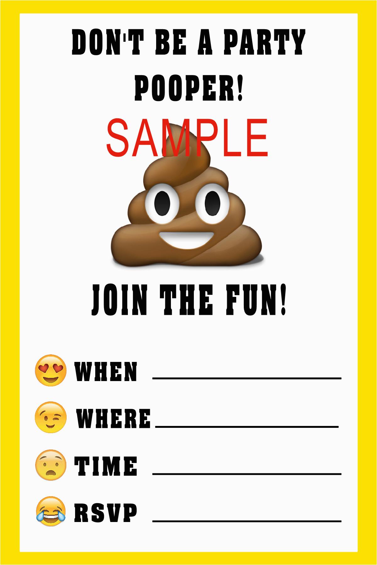 poop emoji birthday invitations
