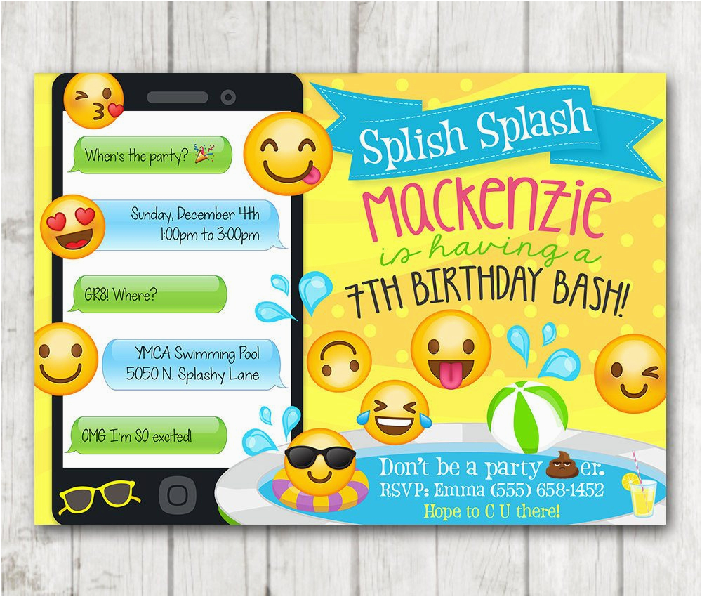 Emoji Birthday Card Template Printable Pool Party Invitation Happy Barn