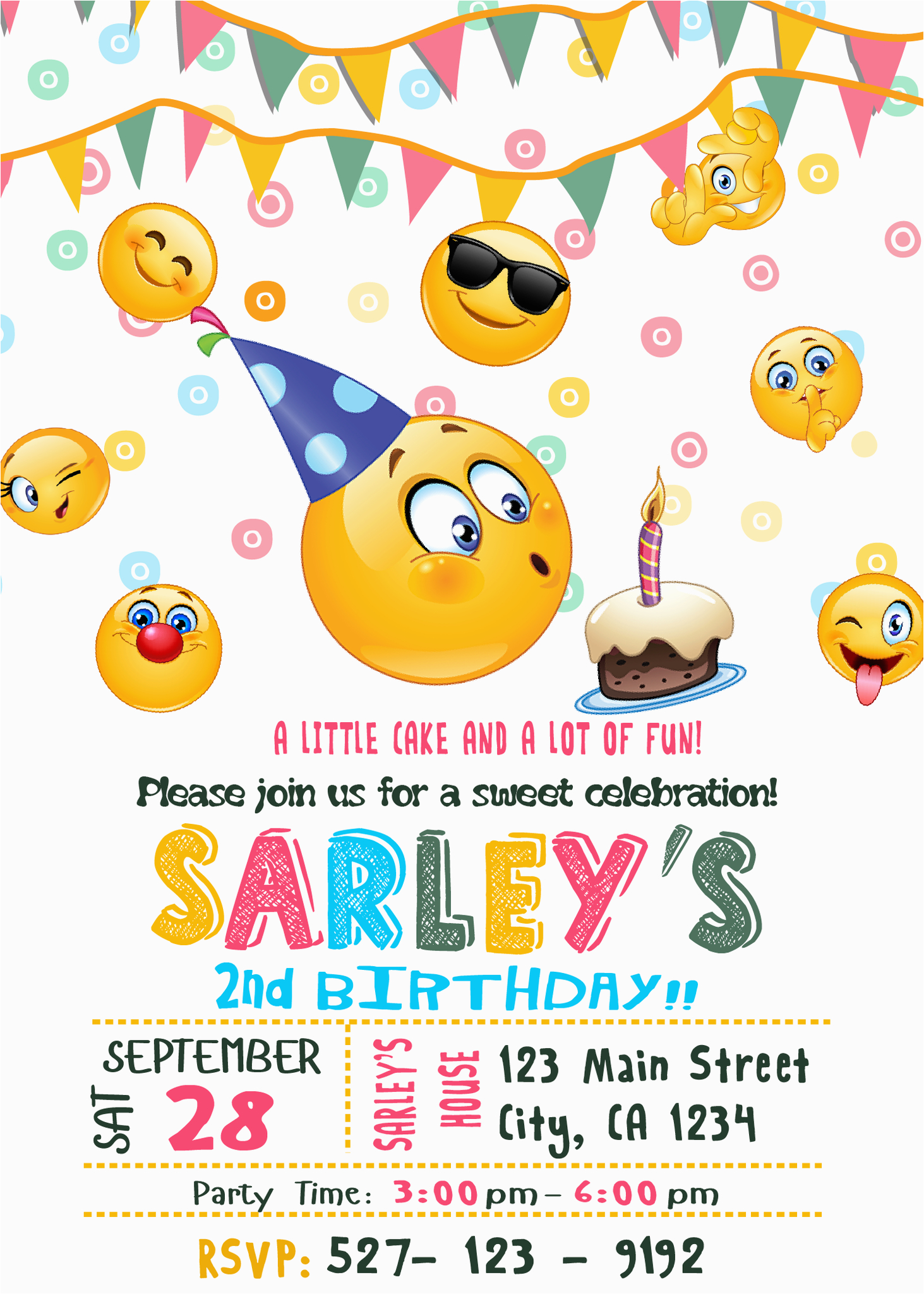 Emoticons Birthday Invitations Emoji Party Invitation