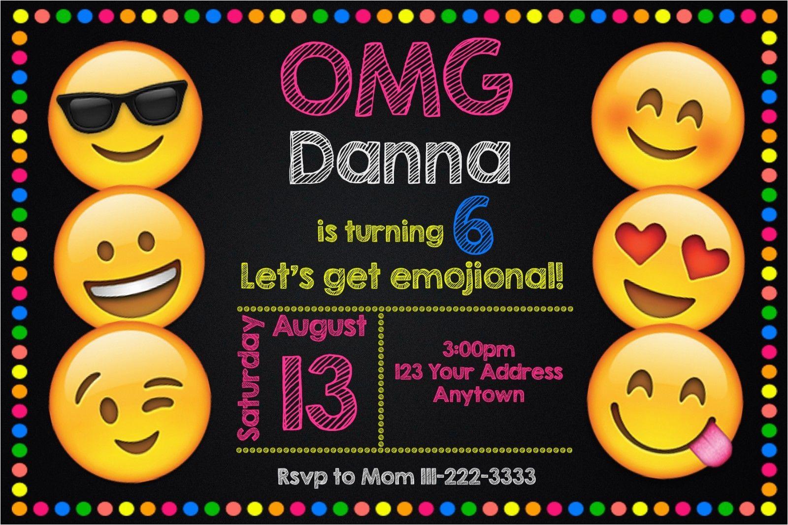 Emoticons Birthday Invitations Emoji Emoticon Party Personalized