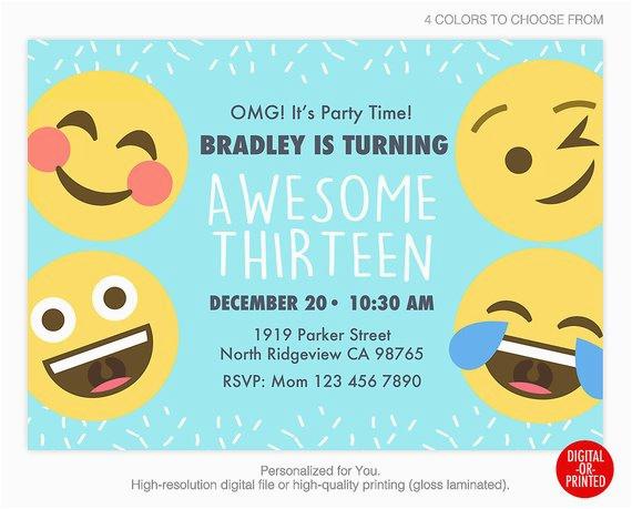 Emoticons Birthday Invitations Emoji Invitation Party