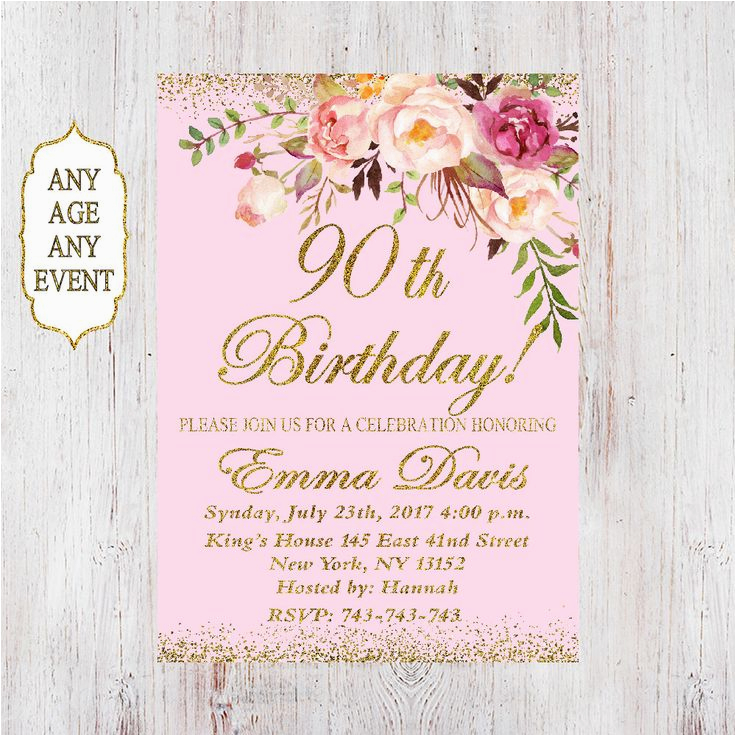 Etsy 90th Birthday Invitations Best 25 Ideas On Pinterest 50