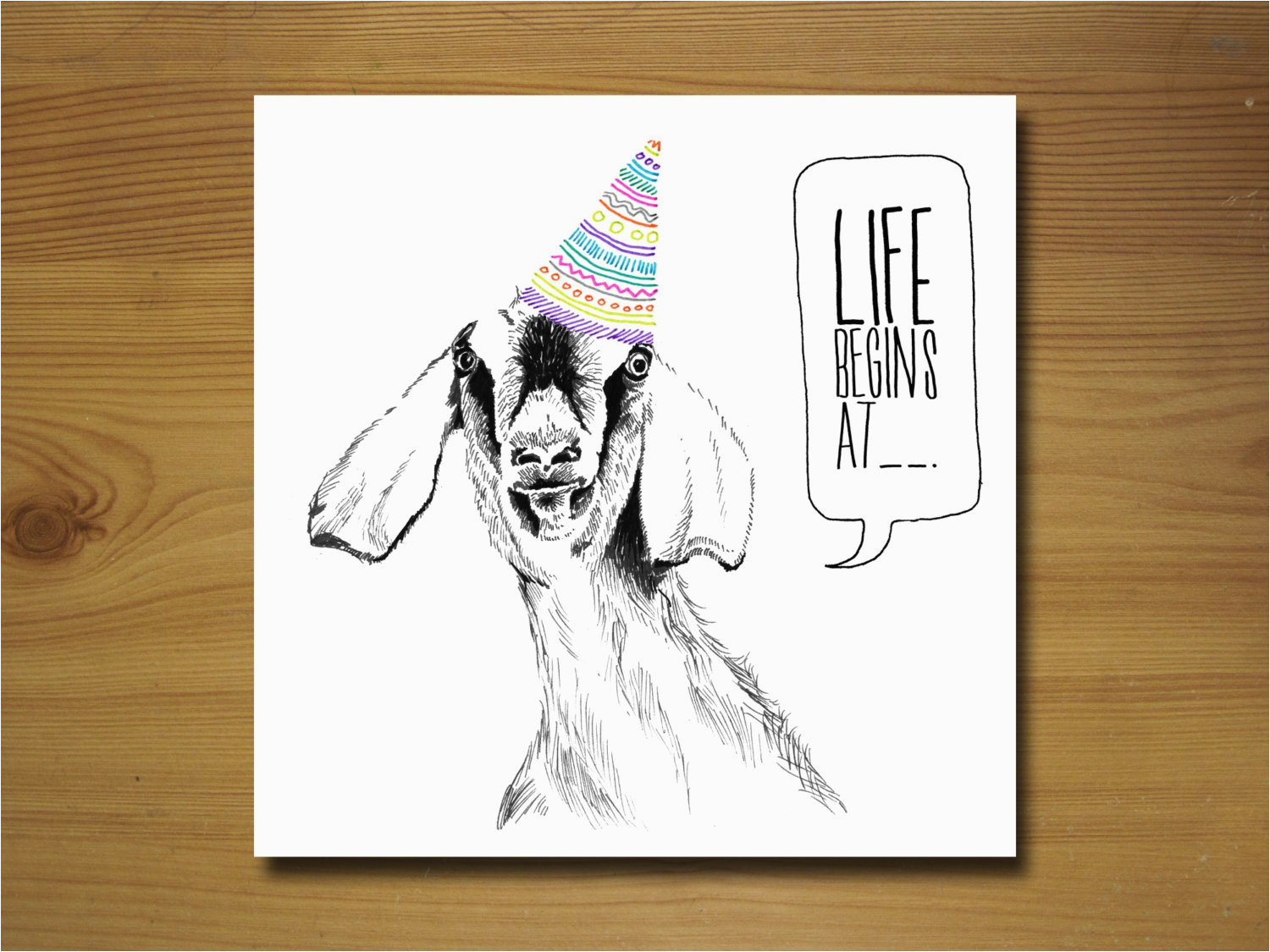 goat birthday card by wywhcards on etsy