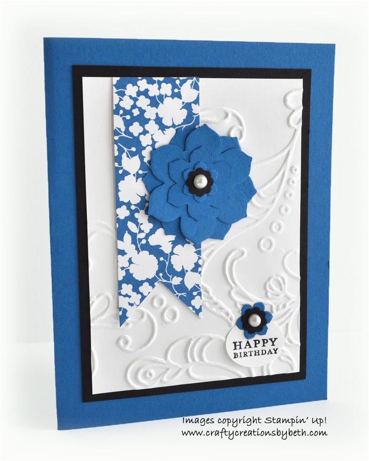 handmade birthday card royal blue and black floral 2