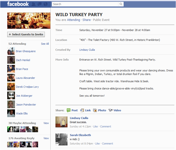 facebook party invite