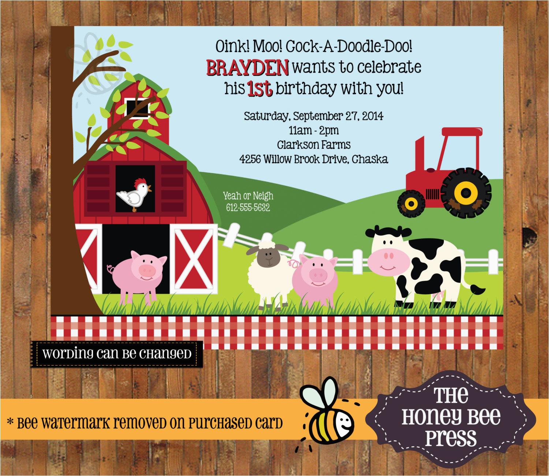 farm animal birthday invitation barnyard