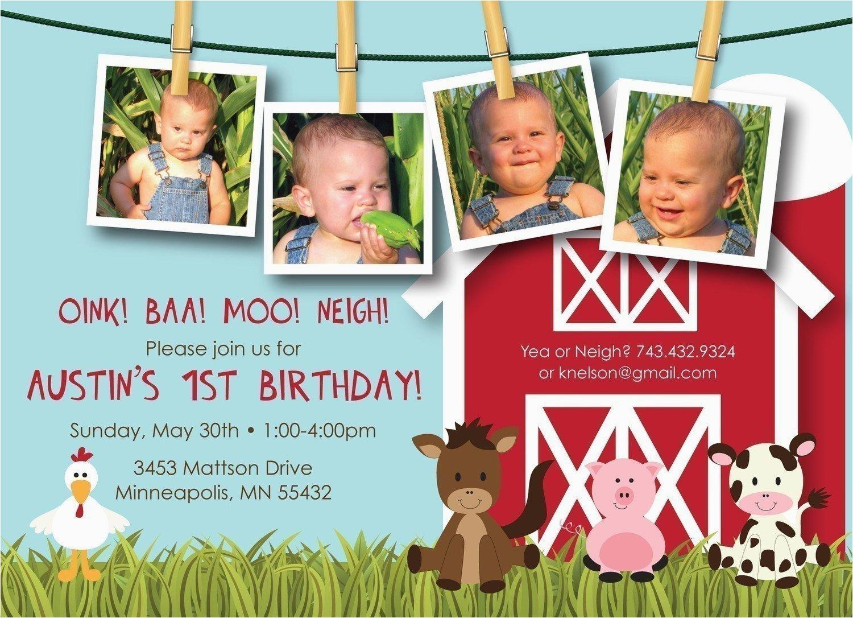 Farm First Birthday Invitations Farm Friends First Birthday Custom Photo Birthday Invitation