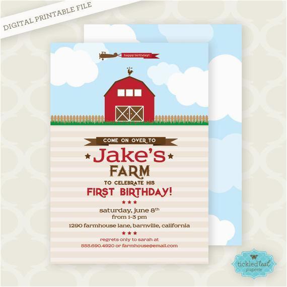 printable invitation farm first birthday