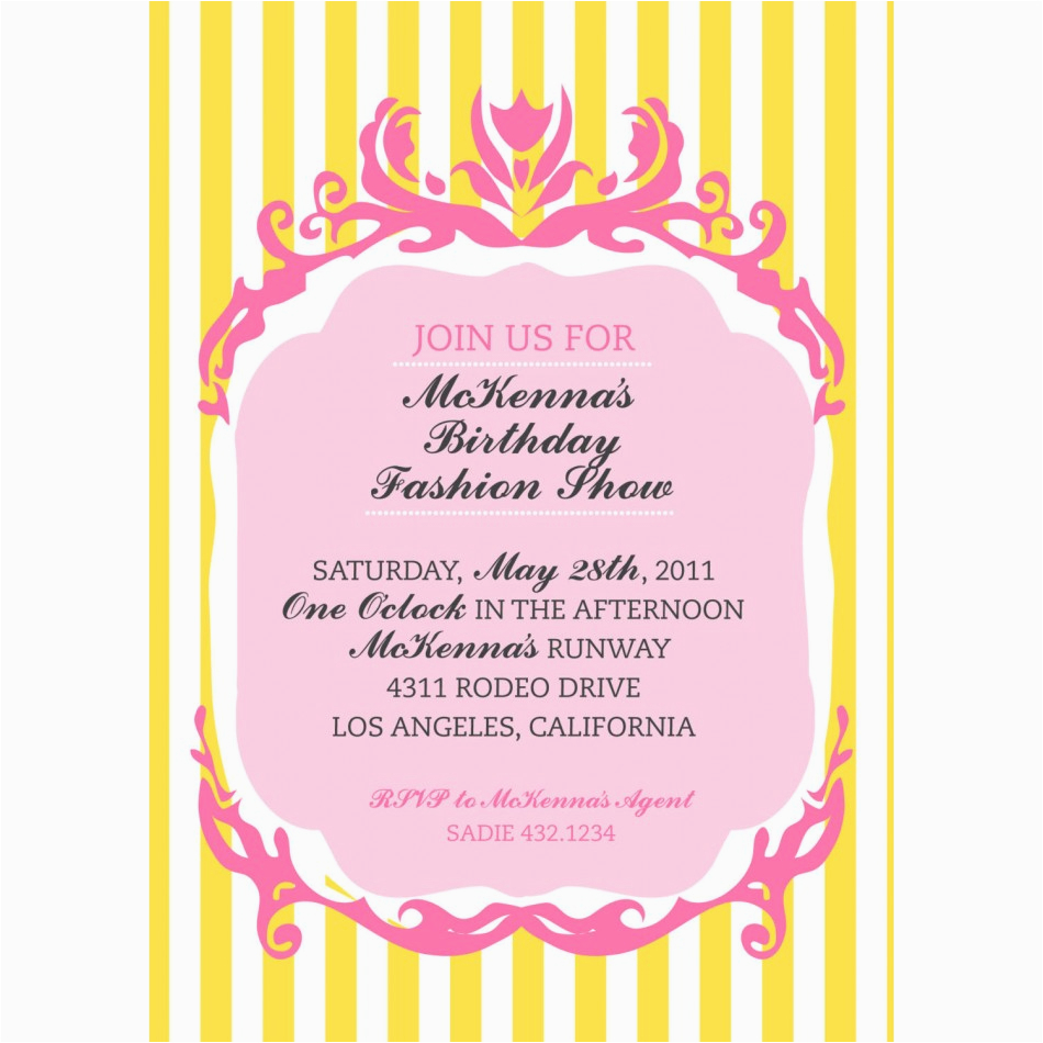 Fashion Show Birthday Party Invitations Couture Fashion Show Birthday Party Printable Invitation