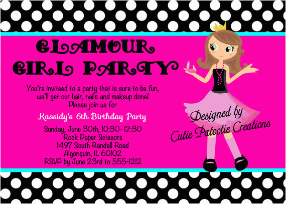 fashion show birthday party invitations ideas