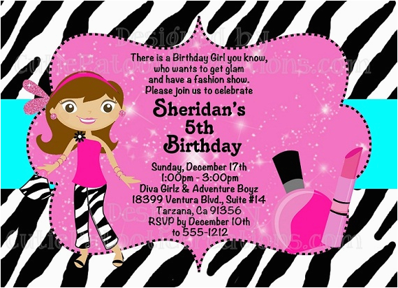 fashion show birthday party invitations ideas